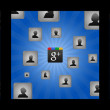 Background with cubes and user icons - Stok fotoğraf