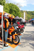 Exhibition stands motorcycling event — Stock Photo