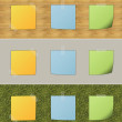 Colorful post it attached on various pattern — Stock Photo #25061519