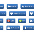 Blue 3D buttons for website — Stock Photo
