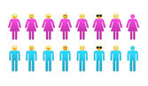 Silhouette of men and women — Stock Photo