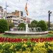 Stock Photo: Fountain in PlazCatalunyin Girona