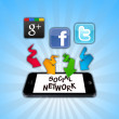 social networks on smartphone — Stock Photo