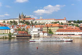 View of Prague and the Vltava from the bridge Karluv most — Stock Photo