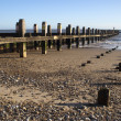 Sea defences on Lowestoft Beach, Suffolk, England - Stock Photo