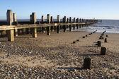 Sea defences on Lowestoft Beach, Suffolk, England — Stock Photo