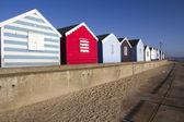 在索思沃尔德、 萨福克、 英国海滩小屋 — 图库照片