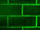 Bakstenen muur donker groen — Stockfoto