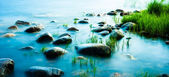 Rocks on the coastline, long shutter shoot — Stock Photo