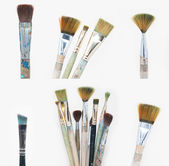 Old dirty brushes set — Stock Photo