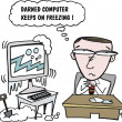 Vector cartoon of man with computer. - Stockvectorbeeld