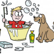 Vector cartoon of boy trying to bathe pet dog. - Stock Vector