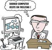 Vector cartoon of man with computer. — Stock Vector