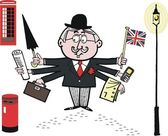 Vector cartoon of Englishman holding umbrella and flag — Stock Vector