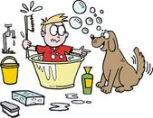 Vector cartoon of boy trying to bathe pet dog. — Stock Vector