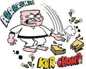 Vector cartoon of karate man chopping brick — Stock Vector