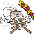 Vector cartoon of karate man breaking wood with chin — Stock Vector