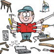 Multi tasking handyman cartoon showing different tools. - Stok Vektör
