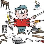 Multi tasking handyman cartoon showing different tools. — Stock Vector