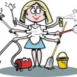 Vector cartoon of housewife cleaning and dusting — Stock Vector