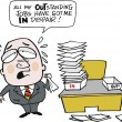 Vector cartoon showing overworked business executive - Stockvectorbeeld