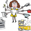 Busy housewife cartoon showing woman in kitchen. - Stock Vector