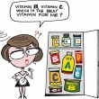 Vector cartoon of confused housewife with large selection of vitamin pills. - Stok Vektör