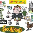 Vector cartoon of Scotsman with Loch Ness monster - Vettoriali Stock