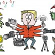 Vector cartoon of keen photographer with camera gear — Stockvectorbeeld