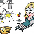 Woman relaxing while robot does housework cartoon - Stok Vektör