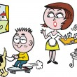 Vector cartoon of surprised woman in kitchen with noisy child - Stok Vektör