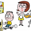 Vector cartoon of surprised woman in kitchen with noisy child - ベクター素材ストック