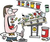 Vector cartoon of man gulping down vitamins — Stock Vector