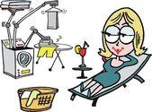 Kadın robot ev işi çizgi film yaparken rahatlatıcı — Stok Vektör