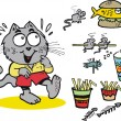 Vector cartoon of eager cat with fast food - Stock Vector
