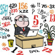 Vector cartoon of business man doing number calculations at desk. — Stock Vector #25655043