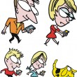 Vector cartoon of family with mobile phone communication. - Imagens vectoriais em stock