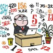 Vector cartoon of business man doing number calculations at desk. — Stock Vector #25655107