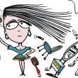 Vector cartoon of woman using hairdryer — 图库矢量图片