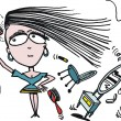 Vector cartoon of woman using hairdryer - Imagens vectoriais em stock