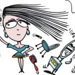 Vector cartoon of woman using hairdryer — Stock Vector #25655109