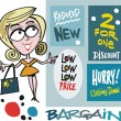 Stock Vector: Vector cartoon of smiling womwith shopping bargain signs