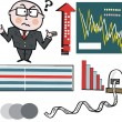 Vector cartoon of businessman and stock market graphs — Stock Vector