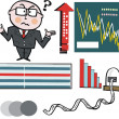 Vector cartoon of businessman and stock market graphs — Stock Vector #25655161