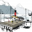 Vector illustration of historic steamship at wharf, Queenstown, New Zealand — Imagens vectoriais em stock