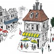 Vector illustration of small French village with cafes and — Stock Vector