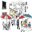 Vector illustration of street cafe and diners, Monchique, Portugal. — Stock Vector #25655259
