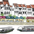 Vector illustration of old Singapore buildings, and river boats. — Stock Vector #25655265