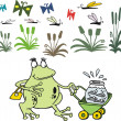 Vector cartoon of happy frog wheeling pram with tadpoles. — Stock Vector