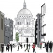 Vector illustration of pedestrians in city area, London England - Stock Vector